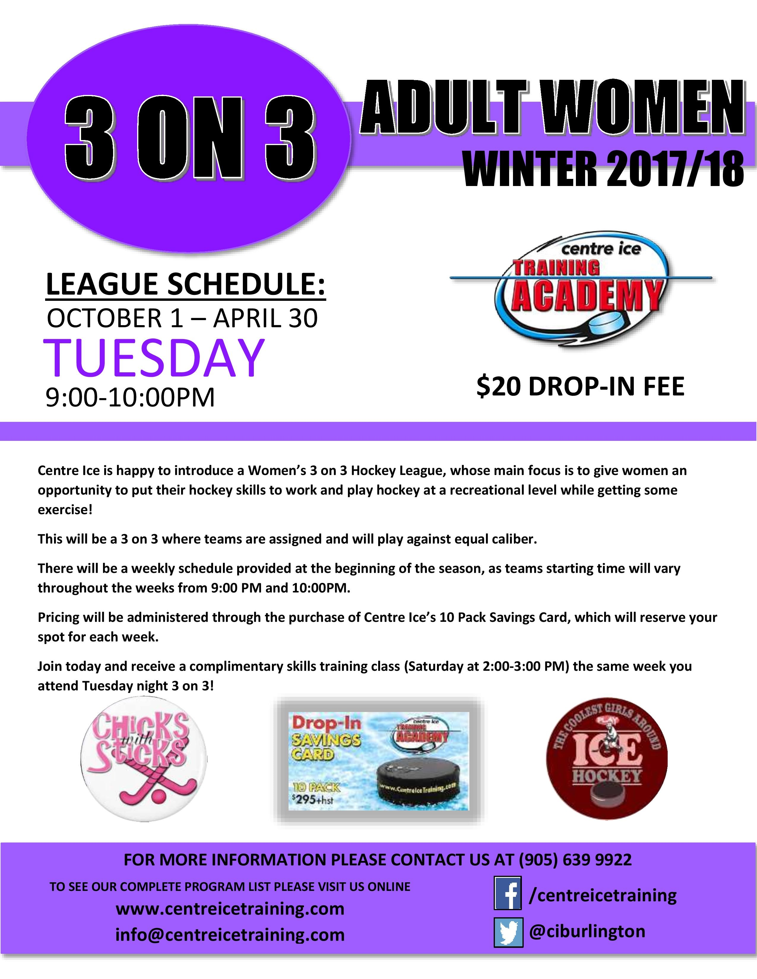 3 on 3 Adult Women Winter 2017-18